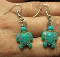 Turquoise Silver Sea Turtle Earrings Native American Navajo Zuni Inspired