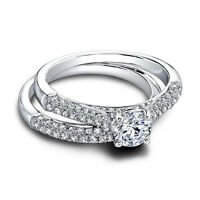 1.15Ct Round Cut Real Diamond Engagement Band Set 14K White Gold Ring Size 5 6 7
