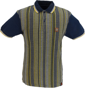 Trojan Records Navy Blue Striped Front Panel Polo Shirt