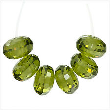10 Cubic Zirconia Rondelle Roundel Beads 8mm Olive Green #96064