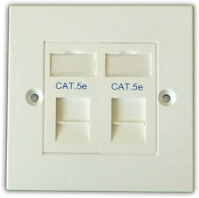 10x Cat 5e 2 VIE dati rete OUTLET, FACEPLATE, moduli di rete LAN Ethernet per montaggio a parete