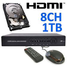 KIT VIDEOSORVEGLIANZA DVR 8 CANALI CH COMPLETO DI HARD DISK DA 1TB HDMI 1000GB a