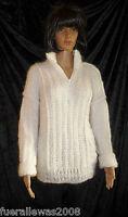 handgestrickt Pullover Mohair schneeweiß + Schal 42 44 hand knitted sweater L XL