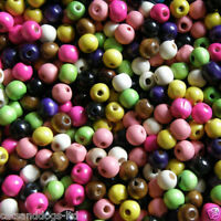 100 x10mm Wooden Round Beads Colour Choice Craft Kids jewellery making