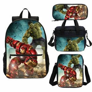 Iron Man Hulk School Backpack Set 4PCS Kids Shoulder Bag Lunch Bag Pen Bag Gifts