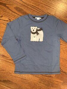 Janie And Jack Boys NWT Sz 5/5T Polar Wonderland Blue Bear Top Tee