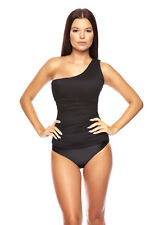 HxWOSIA-830) 2tlg. SET OCTOPUS TANKINI SLIP ONE SHOULDER SCHWARZ NEU GR. 42