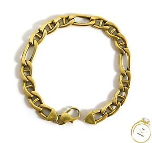 Men's Figaro Link Chain 14k Yellow Gold Bracelet 9 inches