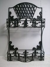 Vtg Black wall shelf rack 2 shelves wrought iron Hanging table top Fleur De Lis