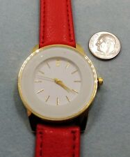 Simple Women Red Strap Band Watch, New Battery- New With Plastic on Crystal