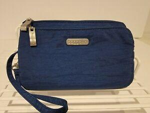 Baggallini Wristlet Wallet Organizer Blue Nylon RFID Protection EUC