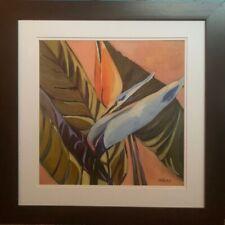 Bird of Paradise Orange and Purple Framed Print 24 x 24 artist SABLAK