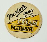 """Vintage Milk Bottle Cap 1-5/8"""" Martin's Dairy Lancaster Pa. Pasteurized Cream F5"""