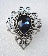 Victorian Style Gothic Brooch Vampire Costume Jewellery Dark Blue Crystal