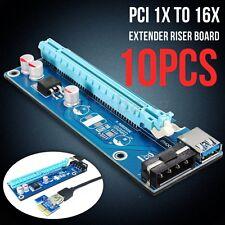 10x PCI-E Express 1x To 16x Extender Riser Card USB 3.0 SATA 4 Pin Power Cable