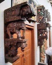 Wooden Elephant Wall Corbel Pair Wooden Bracket Handmade Statue Sculpture Decor