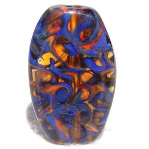 TANGLETOWN #1 Handmade Art Glass Focal Bead Flaming Fools Lampwork Art Glass SRA