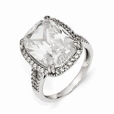 Cheryl M Sterling Silver Cubic Zirconia Square Ring Size 8 #900