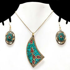 """BLUE TURQUOISE & CORAL GEMSTONE GOLD PLATED NEPALI PENDANT & EARRING SET 17-18"""""""