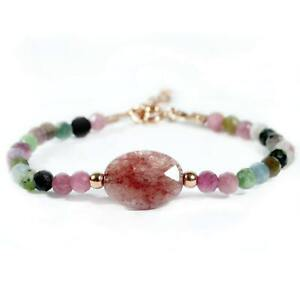 Delicate Watermelon Tourmaline Bracelet with 925 Sterling Silver
