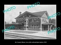 OLD LARGE HISTORIC PHOTO OF Mt CARMEL ILLINOIS, THE RAILROAD DEPOT STATION c1910