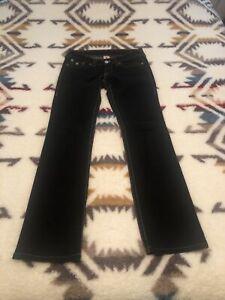 "True Religion Jeans Size 29"", Inseam 33"" Billy Giant Big T"" Blue"