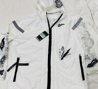Nike Men's Running Wild Run Windbreaker NWT White Black Full Zip Hoodie Size XL