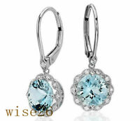 Gifts Dangle Engagement Vintage Wedding Drop Aquamarine Earrings Silver Jewelry