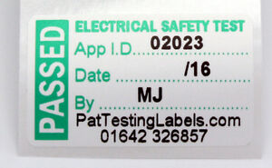 Roll 1000 4th Edition PASSED PAT Test Labels Personalised Non Rip 40 x 24mm PASS
