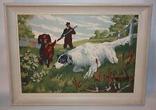 Vintage Framed Paint By Numbers Man With Bird Dogs Hunting Scene