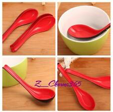 2PCS Kitchen Red + Black Plastic Spare Part Dinning Soup Spoon Rice Spoon T