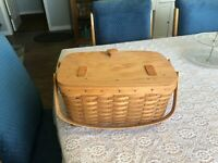 Vintage Longaberger Hostess Heirloom 1991 Picnic Basket with Lid 15 x10 x 7""