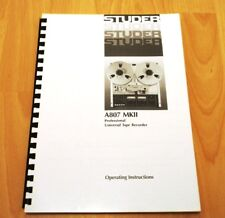 1 x STUDER A807 MK II MANUAL ! NEW ! RAR ! TOP !