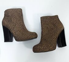 Blowfish Leopard Womens Ankle Boots Sz 8 Chunky Heels Booties Brown