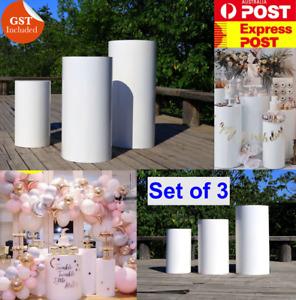 Set of 3 Round Plinth Cylinder Pedestal Wedding Cake Flower Display Stand