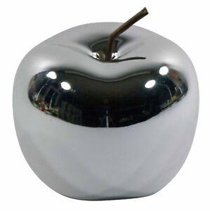Deko Apfel Keramik silber chrom glasiert glänzend Objekt Dekoapfel Figur Obst