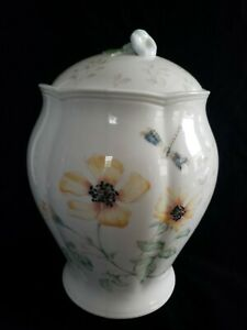 Lenox BUTTERFLY MEADOW Large Canister Cookie Jar with lid - Butterfly is gone!
