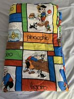 """RARE Vintage 1990s Disney PINOCCHIO TWIN Bed Cover Comforter Quilt 85"""" x 58"""""""