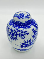 """Oriental Chinese Blue and White 5"""" Ceramic Porcelain Vase with Lid -Unmarked"""