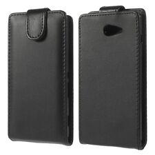 Custodia Flip Cover eco pelle NERA per Sony Xperia M2 case apertura verticale