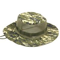 Men Bucket Boonie Sun Hat Camo Wide Brim Outdoor Fishing Hunting Cap Mesh Hats