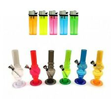 ACRYLIC MINI WATER BONGS WITH BOWL WATER PIPE IN COLOURS, BONG FREE LIGHTER