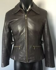 Wilsons Leather Jacket Zip Lined Womens Trendy Fitted Moto Biker Brown Western S