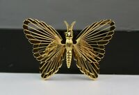Vintage Monet Gold Tone Filigree Filigree Butterfly Brooch