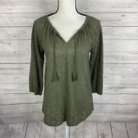 J. Jill Womens Eyelet Peasant Top Blouse Size Small Green 3/4 Sleeve Tassels