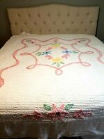 "Vintage White Floral Chenille Bedspread Pastel Flowers Queen 102"" x 90.5"""