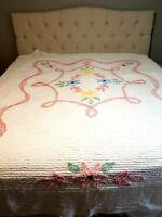 "Vintage White Floral Chenille Bedspread Pastel Flowers Queen 102"" x 90.5"""