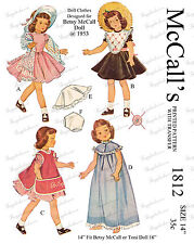 "McCalls 1812 - 14"" Betsy Mccall & other doll clothes sewing pattern"