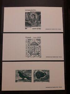 3 gravures épreuve France 3358 - 61 Mosaïque Peynet Faucon Kiwi 2000