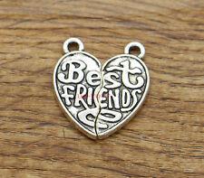 10sets Best Friends Set Charms BFF Friendship 2 Piece Antique Silver 20x22 2035